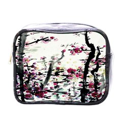 Pink Flower Ink Painting Art Mini Toiletries Bags by BangZart