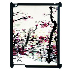 Pink Flower Ink Painting Art Apple Ipad 2 Case (black) by BangZart