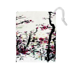 Pink Flower Ink Painting Art Drawstring Pouches (large)