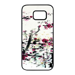 Pink Flower Ink Painting Art Samsung Galaxy S7 Edge Black Seamless Case by BangZart
