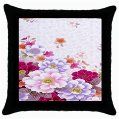 Sweet Flowers Throw Pillow Case (black) by BangZart