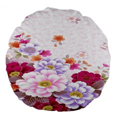 Sweet Flowers Large 18  Premium Flano Round Cushions by BangZart