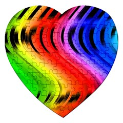 Colorful Vertical Lines Jigsaw Puzzle (heart) by BangZart