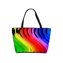Colorful Vertical Lines Shoulder Handbags by BangZart