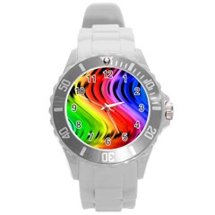 Colorful Vertical Lines Round Plastic Sport Watch (l) by BangZart