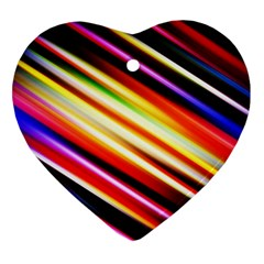 Funky Color Lines Heart Ornament (two Sides) by BangZart