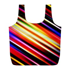 Funky Color Lines Full Print Recycle Bags (l)  by BangZart