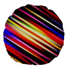 Funky Color Lines Large 18  Premium Flano Round Cushions by BangZart