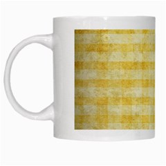 Spring Yellow Gingham White Mugs by BangZart