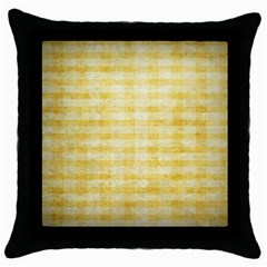 Spring Yellow Gingham Throw Pillow Case (black) by BangZart