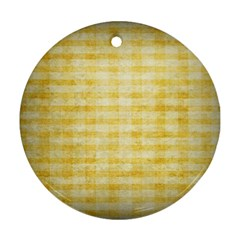 Spring Yellow Gingham Round Ornament (two Sides)
