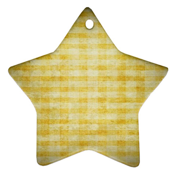 Spring Yellow Gingham Star Ornament (Two Sides)