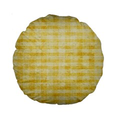 Spring Yellow Gingham Standard 15  Premium Round Cushions by BangZart