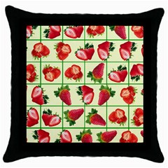 Strawberries Pattern Throw Pillow Case (black) by SuperPatterns