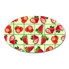 Strawberries Pattern Oval Magnet by SuperPatterns