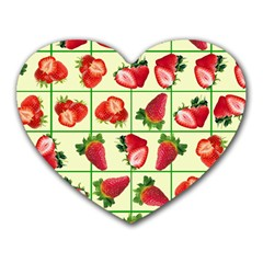 Strawberries Pattern Heart Mousepads by SuperPatterns