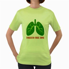 Tobacco Free Zone Women s Green T Shirt by linceazul
