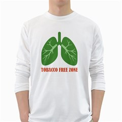 Tobacco Free Zone White Long Sleeve T Shirts by linceazul