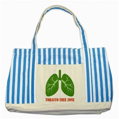Tobacco Free Zone Striped Blue Tote Bag by linceazul