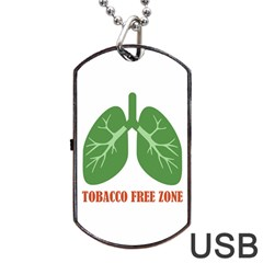 Tobacco Free Zone Dog Tag Usb Flash (two Sides) by linceazul