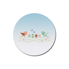 Cute Birds Rubber Coaster (round)  by linceazul