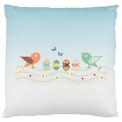 Cute Birds Large Cushion Case (one Side) by linceazul