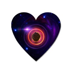 The Little Astronaut On A Tiny Fractal Planet Heart Magnet by jayaprime