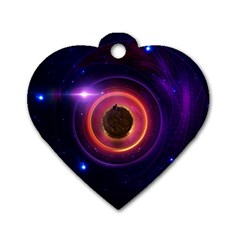 The Little Astronaut On A Tiny Fractal Planet Dog Tag Heart (one Side)