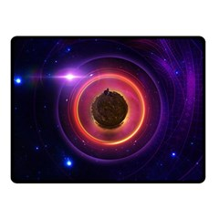 The Little Astronaut On A Tiny Fractal Planet Fleece Blanket (small) by jayaprime