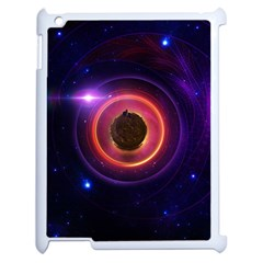 The Little Astronaut On A Tiny Fractal Planet Apple Ipad 2 Case (white) by jayaprime