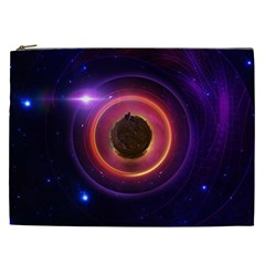 The Little Astronaut On A Tiny Fractal Planet Cosmetic Bag (xxl)  by jayaprime