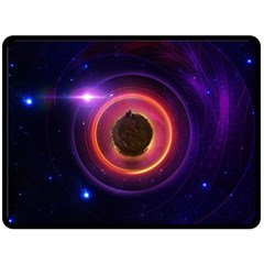 The Little Astronaut On A Tiny Fractal Planet Double Sided Fleece Blanket (large)  by jayaprime
