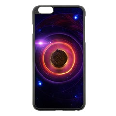 The Little Astronaut On A Tiny Fractal Planet Apple Iphone 6 Plus/6s Plus Black Enamel Case by jayaprime