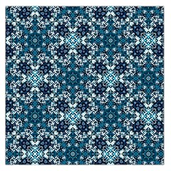 Boho Blue Fancy Tile Pattern Large Satin Scarf (square) by KirstenStar