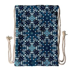 Boho Blue Fancy Tile Pattern Drawstring Bag (large) by KirstenStar