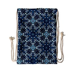 Boho Blue Fancy Tile Pattern Drawstring Bag (small) by KirstenStar