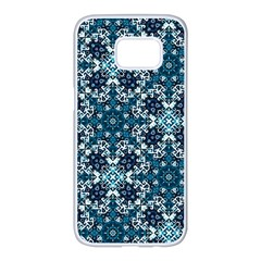 Boho Blue Fancy Tile Pattern Samsung Galaxy S7 Edge White Seamless Case by KirstenStar