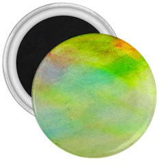 Abstract Yellow Green Oil 3  Magnets by BangZart