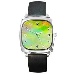 Abstract Yellow Green Oil Square Metal Watch by BangZart