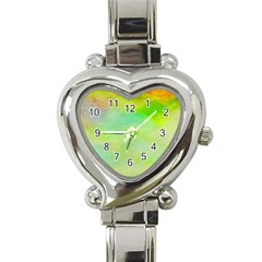 Abstract Yellow Green Oil Heart Italian Charm Watch by BangZart