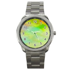 Abstract Yellow Green Oil Sport Metal Watch by BangZart