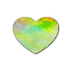 Abstract Yellow Green Oil Rubber Coaster (heart)  by BangZart