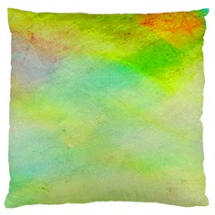 Abstract Yellow Green Oil Large Cushion Case (one Side) by BangZart
