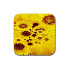 Beautiful Sunflowers Rubber Coaster (square)  by BangZart