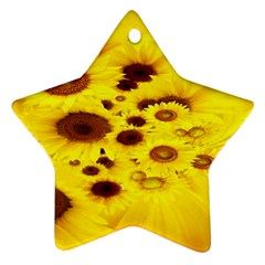 Beautiful Sunflowers Star Ornament (two Sides) by BangZart