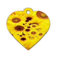Beautiful Sunflowers Dog Tag Heart (two Sides) by BangZart