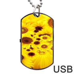 Beautiful Sunflowers Dog Tag Usb Flash (one Side) by BangZart