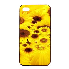 Beautiful Sunflowers Apple Iphone 4/4s Seamless Case (black) by BangZart