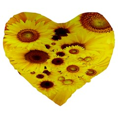 Beautiful Sunflowers Large 19  Premium Heart Shape Cushions by BangZart