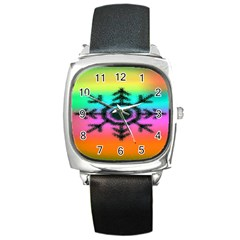 Vector Snowflake Square Metal Watch